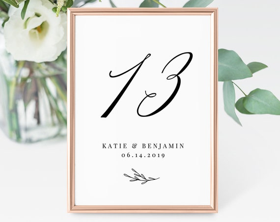 INSTANT DOWNLOAD, Printable Wedding Table Number Card, Flat & Tent Fold, 100% Editable, Rustic Boho, Kraft, Calligraphy, Templett #038-119TC