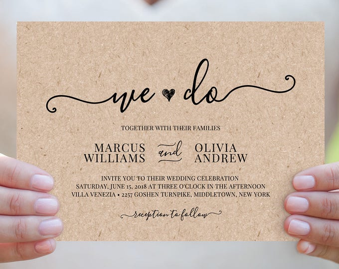 We Do Wedding Invitation Template, Printable Heart Wedding Invite, RSVP, Details Card, Instant Download, Editable, Modern Wedding #030A