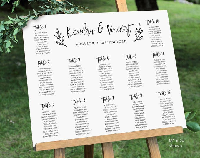 Seating Chart Template, Printable Seating Plan, Instant Download, Printable, 100% Editable Template, Rustic Wedding, Digital, DIY #018-214SC