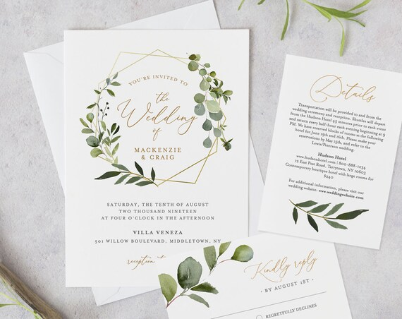 Wedding Invitation Template, Printable Greenery & Gold Invite, RSVP and Details, INSTANT DOWNLOAD, 100% Editable Text, DiY, Templett #056A