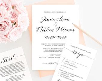 Calligraphy Wedding Invitation Set, Printable Wedding Invite, RSVP & Details, Instant Download, 100% Editable Template, Romantic Script #024
