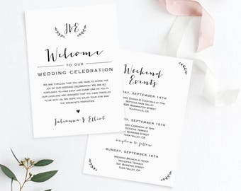 wedding itinerary welcome letter template welcome bag note wedding events agenda timeline 100 editable templett instant 031 103wb