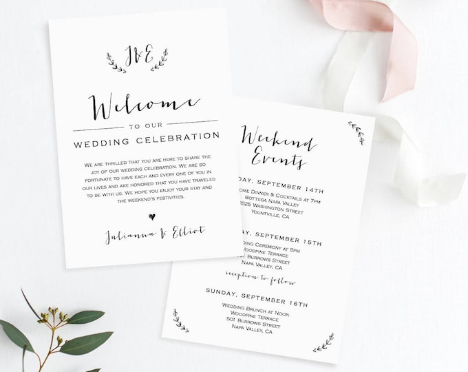 Wedding Itinerary & Welcome Letter Template, Welcome Bag Note, Wedding Events, Agenda, Timeline, 100% Editable, Templett, Instant #031-103WB