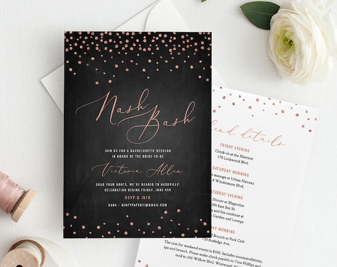 Nash Bash Bachelorette Party Invitation & Itinerary, Rose Gold Nashville Weekend, INSTANT DOWNLOAD, 100% Editable Template, Printable #117BP