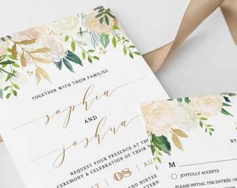 Printable Wedding Invitation Set, 100% Editable Template, INSTANT DOWNLOAD, Watercolor Floral, Neutral, Greenery, Gold, Boho, Templett #021