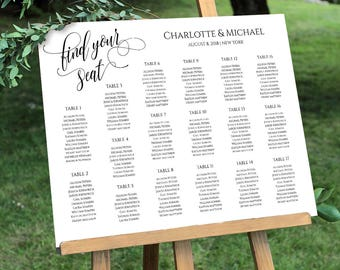 Seating Chart Template, Table Arrangement, Setaing Plan, Calligraphy, Editable Template, Instant Download, Digital, DIY #020-209SC