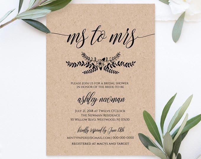 Bridal Shower Invitation, Ms to Mrs, Instant Download, DIY Rustic Kraft Invite, Printable Wedding Shower Template, 100% Editable #NC-104BS