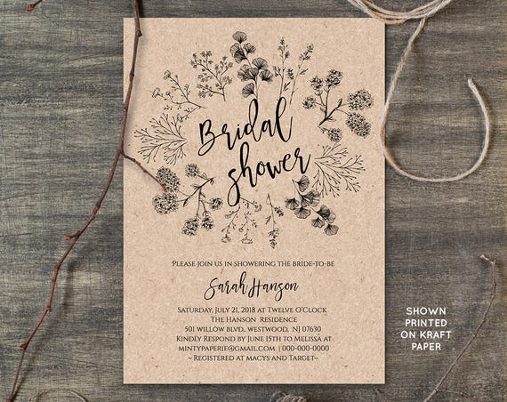Rustic Bridal Shower Invitation Template, Wedding Shower Invite, Instant Download, DIY, Printable, Digital, Editable Template #018-105BS