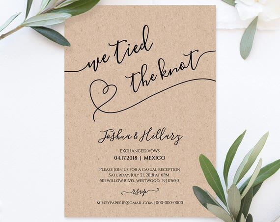 Printable Elope Announcement, We Tied the Knot, Rustic Heart Wedding Elopement Invitation, Instant Download, Fully Editable, DIY #NC-103EL