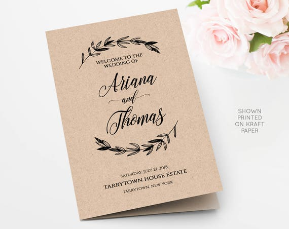 Wedding Program Printable, Rustic Laurels, Ceremony Program Template, Kraft Paper, INSTANT DOWNLOAD, Fully Editable, Digital, DIY #023-105WP