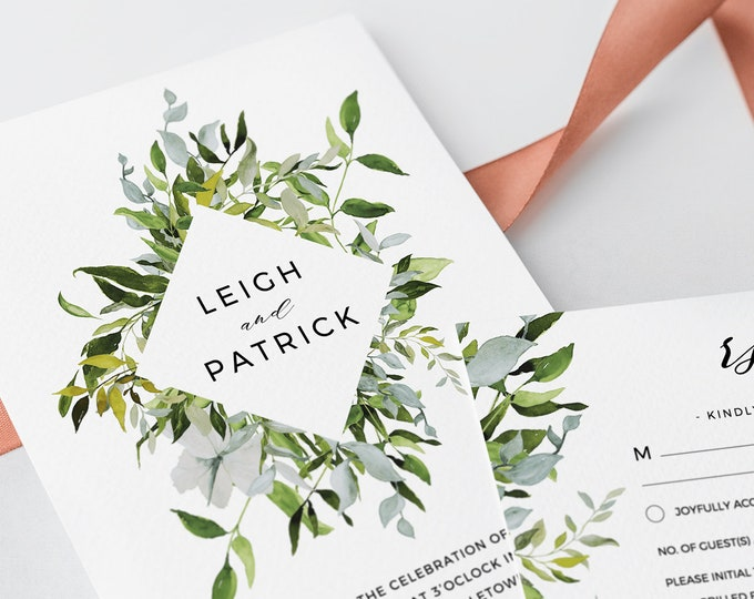 Wedding Invitation Template, Greenery Watercolor, INSTANT DOWNLOAD, Fully Editable, Invite, RSVP & Details Card, Printable, Templett #016