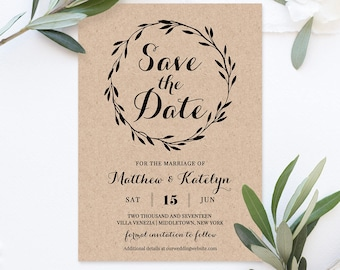 Rustic Save the Date Template, Instant Download, DIY Kraft, Printable Wedding Save the Date, Fully Editable Template, Digital #NC-109SD