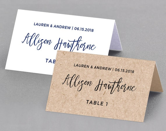 Wedding Place Card Template, Table Number, Name Card, Seating Card, Printable File, Instant Download, 100% Editable, Digital, DIY #018-101PC