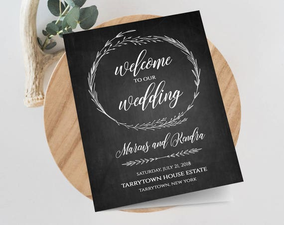 Rustic Wedding Program Template, 100% Editable, INSTANT DOWNLOAD, Printable Ceremony / Order of Service, Wreath, Chalkboard, DIY #022-104WP