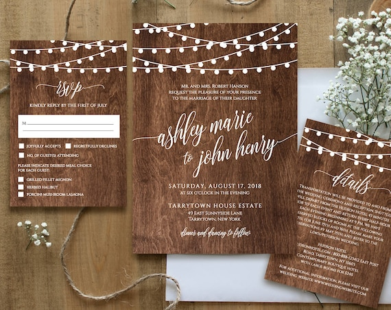 Wedding Invitation Template, Printable Rustic Wood String Lights Invite Set, RSVP, Details, Instant Download, Fully Editable, DIY #014