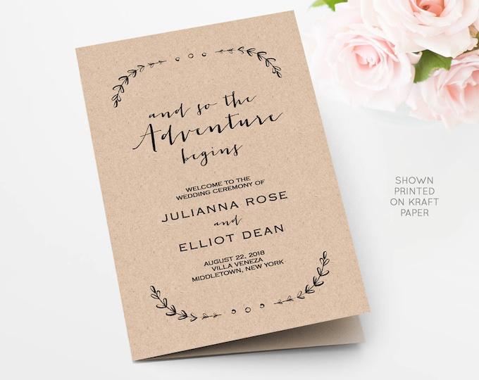 Wedding Program Template, Printable Order of Service, Folded, So the Adventure Begins, INSTANT DOWNLOAD, 100% Editable, Templett  #031-113WP