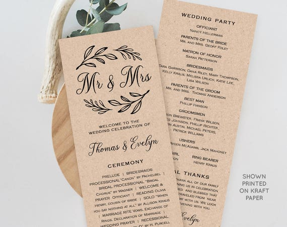 Wedding Program Template,  Printable Order of Service, Ceremony Program, Instant Download, 100% Editable, Mr & Mrs, Rustic Kraft #027-205WP