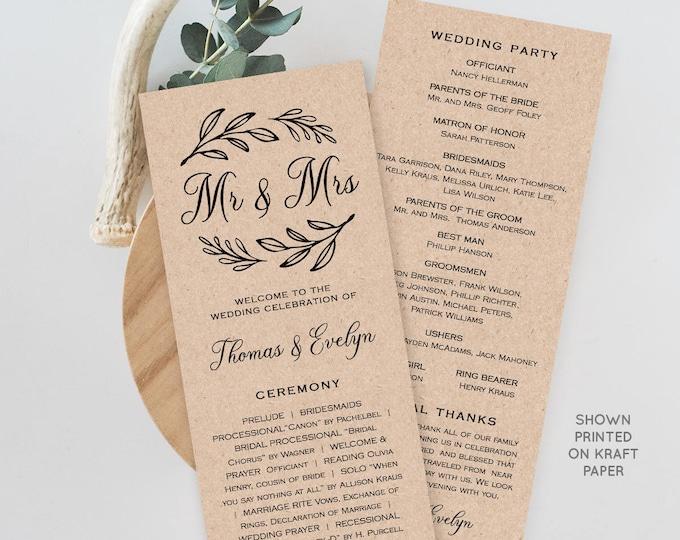 Wedding Program Template,  Printable Order of Service, Ceremony Program, Instant Download, 100% Editable, Mr & Mrs, Rustic Kraft #027-205WP