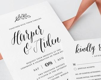 Calligraphy Wedding Invitation Suite, Printable, 100% Editable Template, INSTANT DOWNLOAD, Rustic Kraft Invite, RSVP & Detail, Templett #039