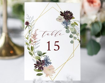 Wedding Table Number Template, Printable Floral Table Card, INSTANT DOWNLOAD, 100% Editable Template, Greenery, Boho, Templett  #040-124TC