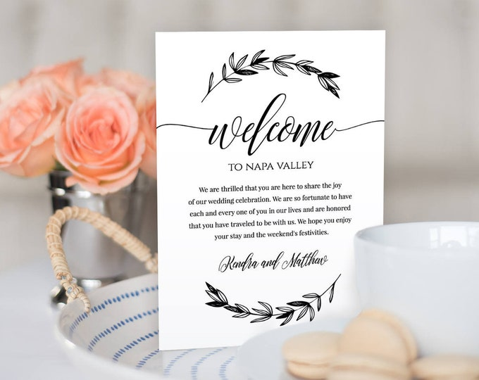 Wedding Welcome Bag Letter Insert, Welcome Bag Note, Wedding Thank You, Itinerary, Agenda, Instant Download, Editable, Templett #023-101WB