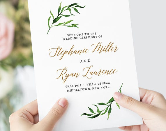 Greenery Wedding Program, Folded, Printable Order of Service, INSTANT DOWNLOAD, 100% Editable Template, DIY, Templett, Watercolor #013-109WP