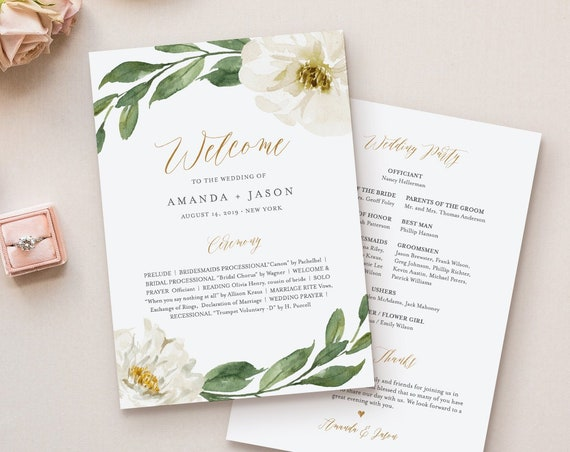 Wedding Program Template, Printable Flat or Fan Program, Boho Floral & Greenery, INSTANT DOWNLOAD, Order of Service, Editable #067-417WP