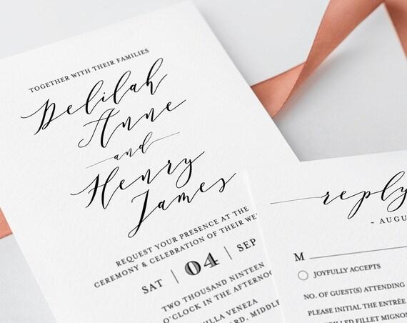 Wedding Invitation Template, Instant Download, Printable, 100% Editable, Modern Calligraphy, Invite, RSVP & Detail, Templett #037