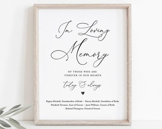 In Loving Memory Sign, INSTANT DOWNLOAD, 100% Editable, Printable Wedding Decor, Simple and Modern Wedding Memorial Sign, DiY #CHM-01