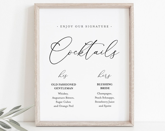 Signature Cocktails Template, Bride and Groom Signature Drinks Printable, INSTANT DOWNLOAD, 100% Editable, Wedding Alcohol Menu, DiY #CHM-09
