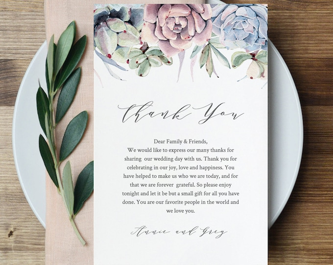 Succulent Wedding Thank You Letter, Napkin Note, In Lieu of Favor Card Template, Boho Wedding Reception Card, INSTANT DOWNLOAD #041-109TYN