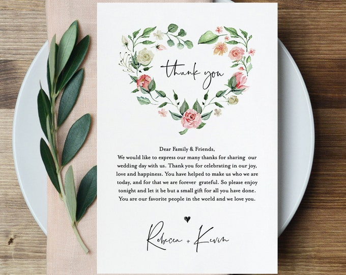 Wedding Thank You Letter, In Lieu of Favor Card Template, Napkin Note, INSTANT DOWNLOAD, 100% Editable Text, Floral Wreath, DIY #058-111TYN