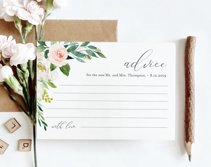 Advice Card Template, Wedding Well Wishes for Bride and Groom, Newlywed, Instant Download, 100% Editable, Blush Florals, DIY #043-113EC