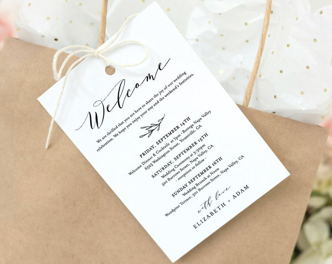 Welcome Bag Tag, Welcome Letter and Itinerary Template, Printable Welcome Note, Order of Events, 100% Editable, INSTANT DOWNLOAD #037-101WBT