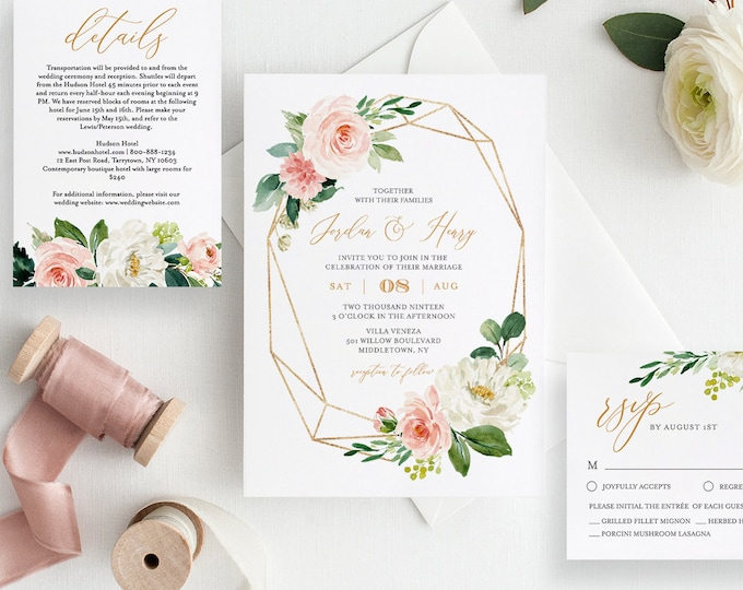 Self-Editing Wedding Invitation Set, 100% Editable Template, INSTANT DOWNLOAD, Watercolor Floral, Greenery, Gold, Boho, Templett, DIY #043A