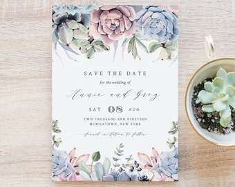 Succulent Save the Date, INSTANT DOWNLOAD, 100% Editable Template, Printable Wedding Date Card, Cactus Florals, DIY, Templett #041-122SD