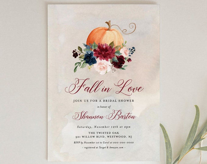 Pumpkin Bridal Shower Invitation Template, Printable Boho Fall Wedding Shower Invite, Fall in Love, Editable, INSTANT DOWNLOAD #072A-194BS