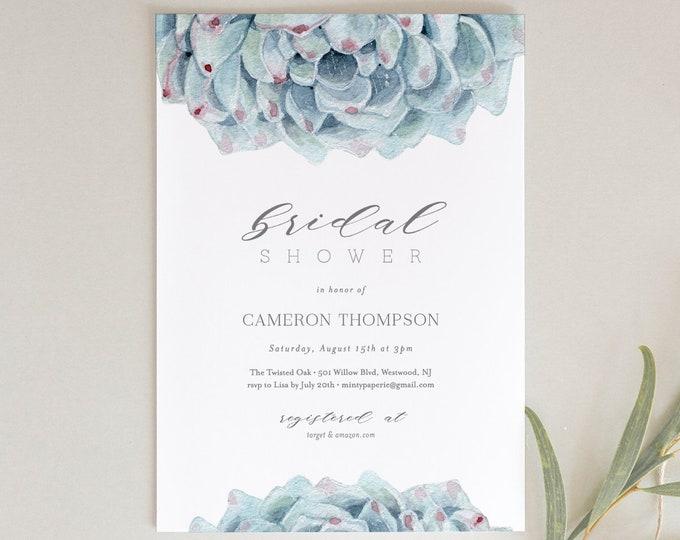 Succulent Bridal Shower Invitation Template, Printable Wedding Shower Invite, INSTANT DOWNLOAD, 100% Editable Text, Watercolor Cactus #1717S