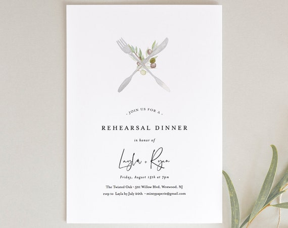 Rehearsal Dinner Template, Watercolor Olive Branch & Silverware, Wedding Rehearsal Invite, 100% Editable Text, Instant Download, DIY #137RD