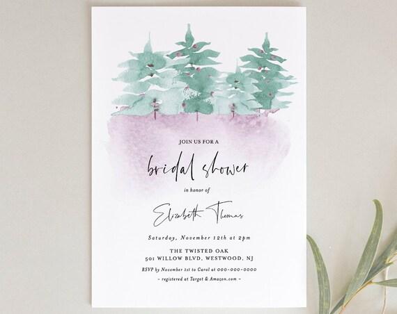 Winter Bridal Shower Invitation, Printable Wonderland Wedding Shower Invite, Pine, Woodland, Editable Template, INSTANT DOWNLOAD #070-195BS