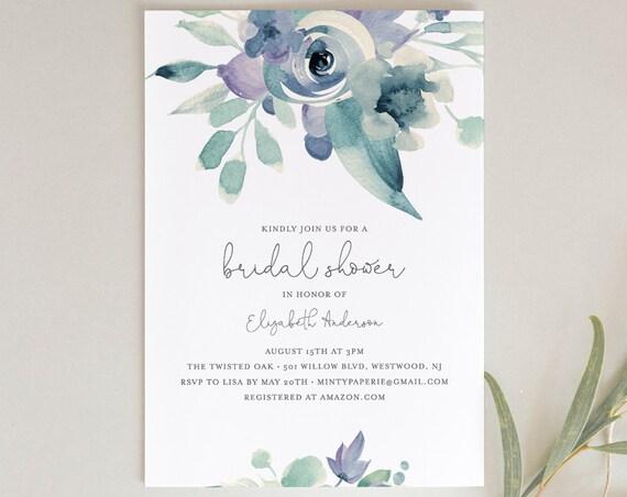 Bridal Shower Invitation Template, Wedding Shower Invite, Purple Blue Boho Florals, INSTANT DOWNLOAD, Editable Text, Templett #063-164BS