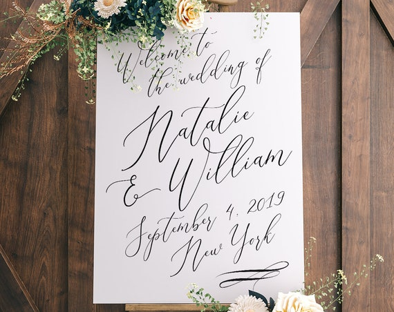 Welcome Sign Template, Rustic Calligraphy Wedding Poster, Instant Download, 100% Editable, Printable, Templett, 4 Sizes - US & UK #046-124LS