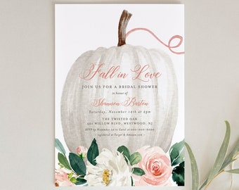 Fall Bridal Shower Invitation Template, Pumpkin Floral Wedding Shower Invite, Fall in Love, Editable, Printable, INSTANT DOWNLOAD 072B-197BS