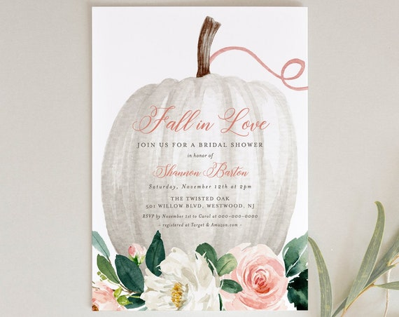 Fall Bridal Shower Invitation Template, Pumpkin Floral Wedding Shower Invite, Fall in Love, Editable, Printable, INSTANT DOWNLOAD #043-197BS