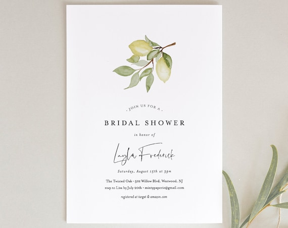 Lemon Bridal Shower Invitation, Couples Shower Invite, Citrus Summer Wedding Shower, INSTANT DOWNLOAD, Editable Text, Printable #169BS
