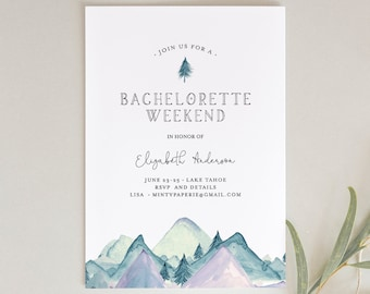 Mountain Retreat Bachelorette Weekend Invitation & Itinerary Template, Cabin, Camping, Lake Party, INSTANT DOWNLOAD, Editable Text 063-121BP