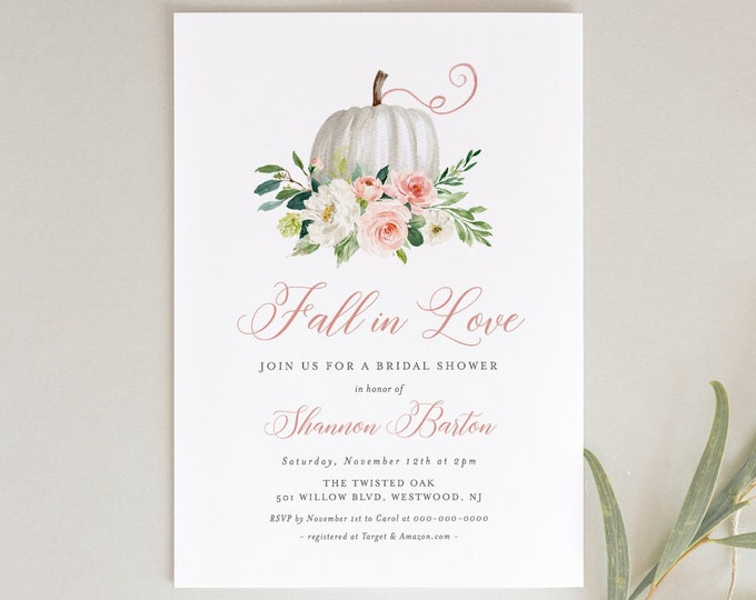 Fall Bridal Shower Invitation Template, Printable Pumpkin Wedding Shower Invite, Fall in Love, Editable, INSTANT DOWNLOAD #072-193BS