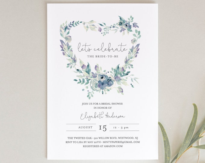 Valentine Bridal Shower Invitation Template, Wedding Shower Purple Blue Heart Floral Wreath, INSTANT DOWNLOAD, 100% Editable Text #063-163BS