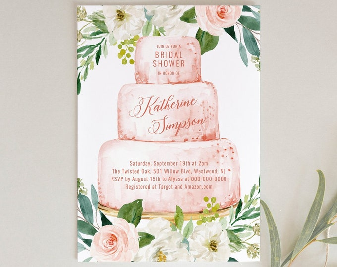 Bridal Shower Invitation Template, Printable Wedding Cake Bridal Shower Invite, 100% Editable Text, Instant Download, Templett, DIY #187BS