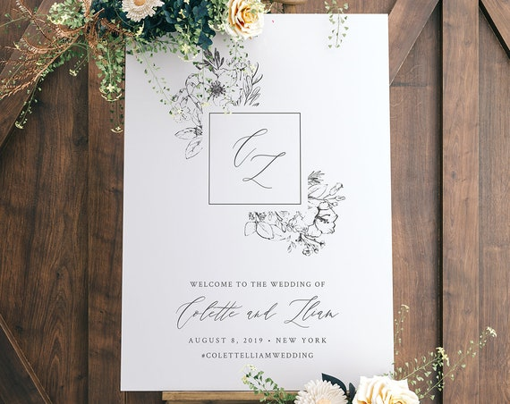 Self-Editing Welcome Sign Template, Printable Vintage Florals Wedding Welcome Poster, Monogram, Instant Download, 100% Editable #061-132LS